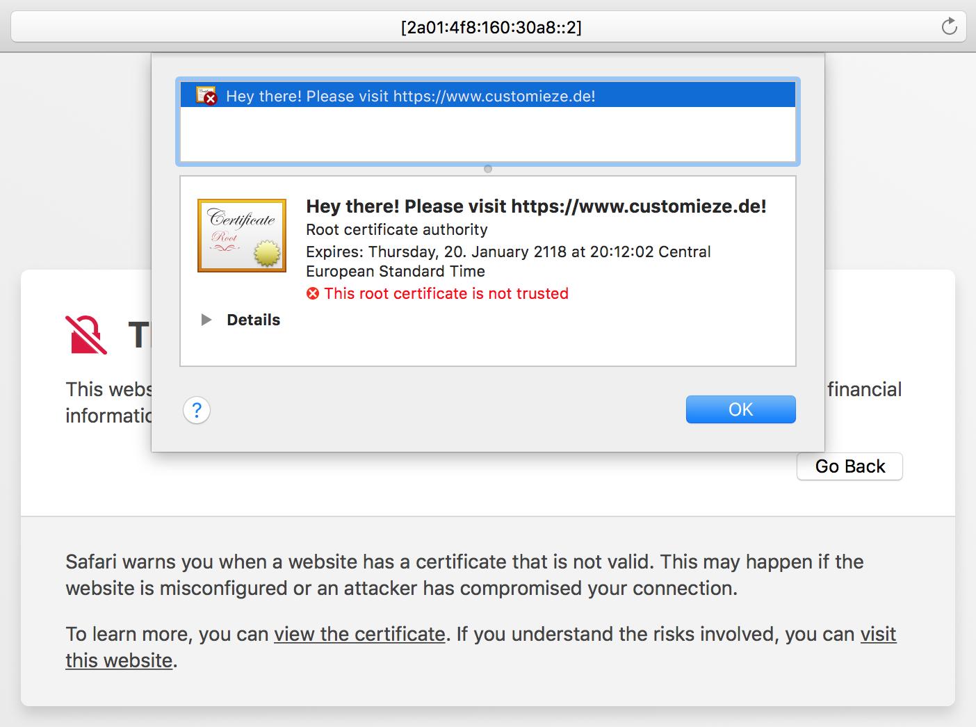 Zertifikatsfehler mit netter Meldung