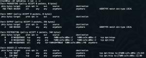 Screenshot mit NAT-Regeln für IPv6